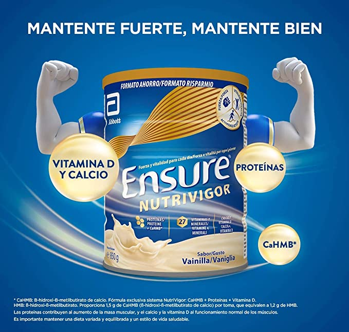 Ensure Nutrivigor - Complemento Alimenticio para Adultos, con HMB, Proteínas, Vitaminas y Minerales, como el Calcio - Sabor Vainilla - 850 g