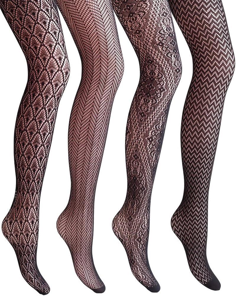 Black Patterned  Fishnet Tights