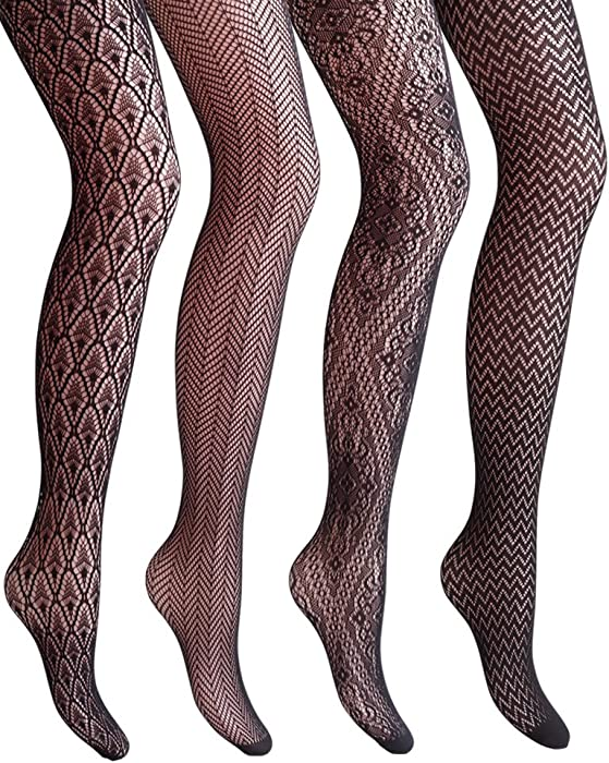 8af2510d095 VERO MONTE 4 Styles Women Fishnet Tights Patterned Fishnets Stockings Small  Hole