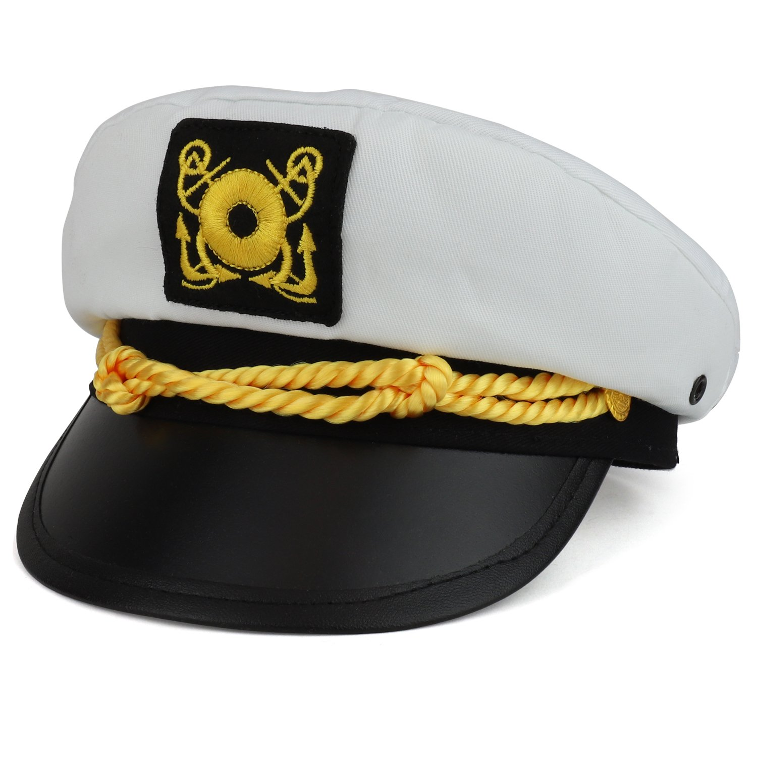 Armycrew Child Size Youth Cotton Yacht Captain Costume Sailor Hat - WHITE