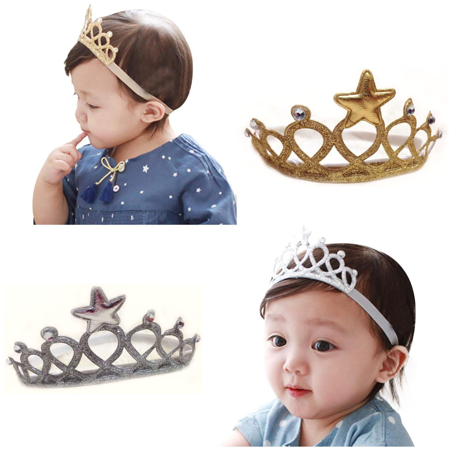 Amazon.com  AISHNE Baby Girl Crown Headband Toddler Princess Hair Band Hair  Accessories Pack of 2  Baby e9f667f1544