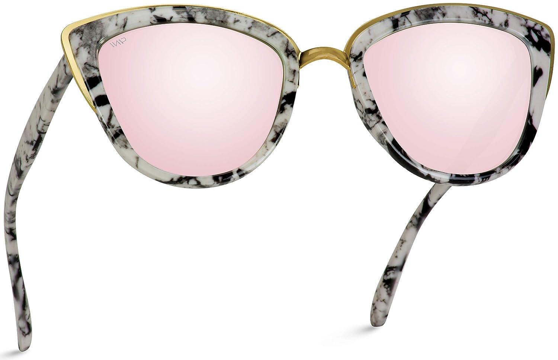 WearMe Pro Gafas de sol reflectantes de ojo de gato de gran tamaño para mujer
