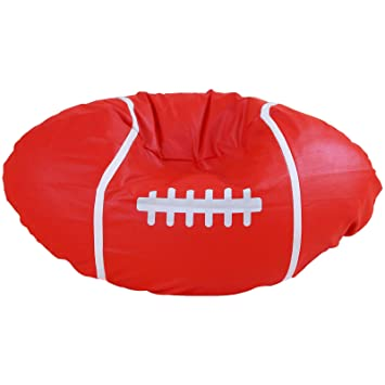 amazon com lazybaby pu leather rugby beanbags chair cover red large