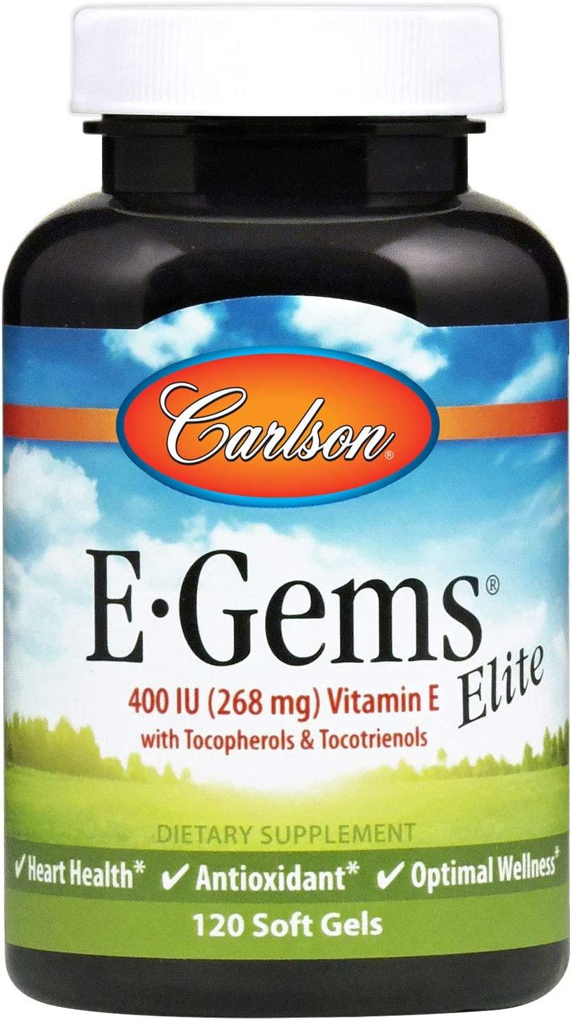 Carlson - E-Gems Elite, 400 IU (268 mg) Vitamin E with Tocopherols & Tocotrienols, Natural-Source, Vitamin E Capsules, Heart Health & Optimal Wellness, Antioxidant, Vitamin E Supplement, 120 Softgels