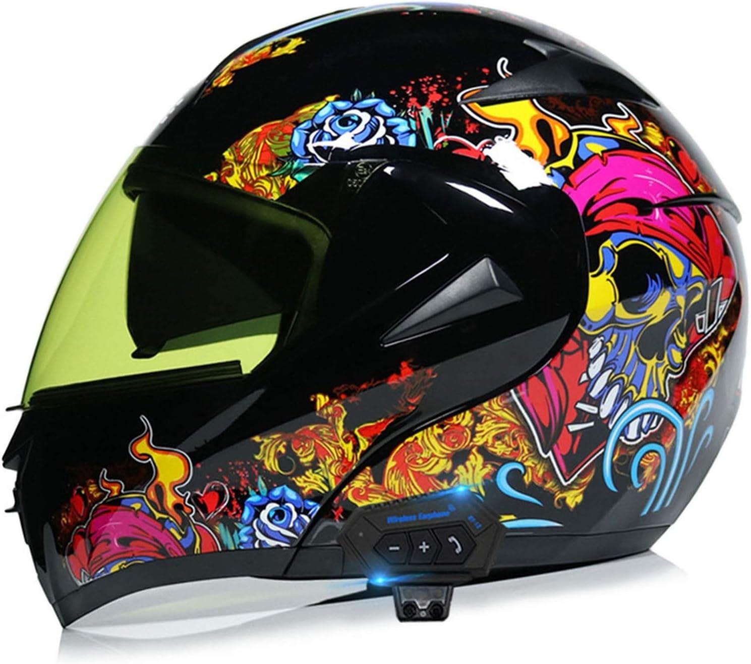 Cascos de Moto Bluetooth Modulares ECE Homologado Casco Integrado Motocross Racing Con Doble Visera Micrófono de Auricular Con Altavoz Incorporado Para Respuesta Automática V,M