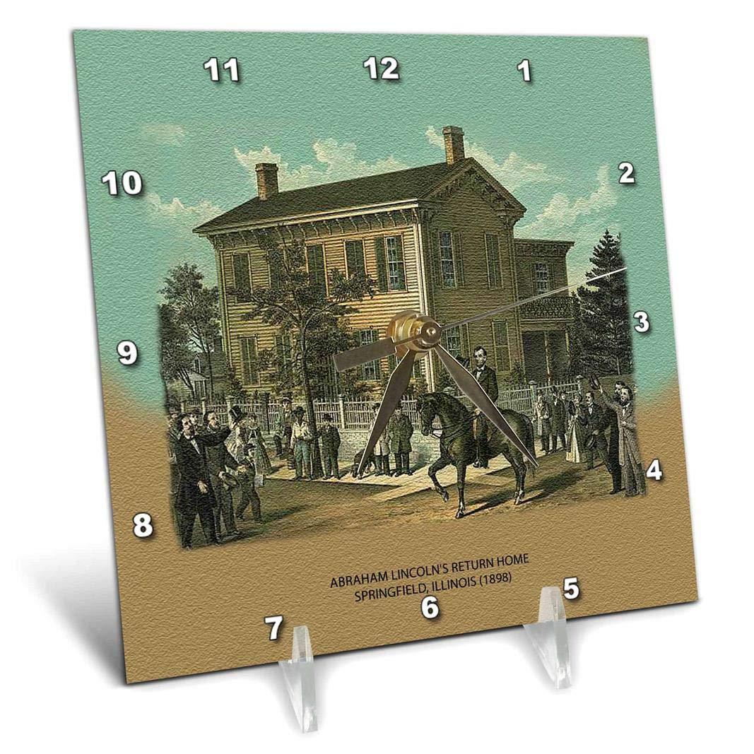 3dRose dc_55421_1 Abraham Lincolns Return Home Springfield, Illinois 1898-Desk Clock, 6 by 6-Inch