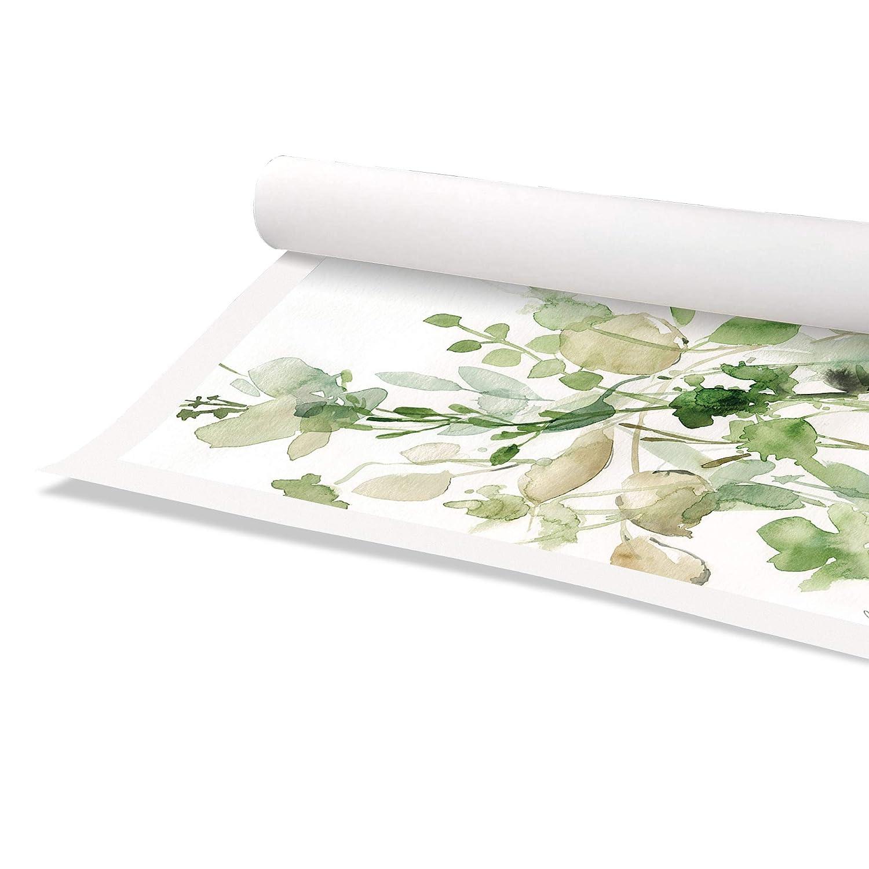 16 x 16, Casa Fine Arts Sage Garden II Green Modern Floral Botanical Archival Watercolor Art Print