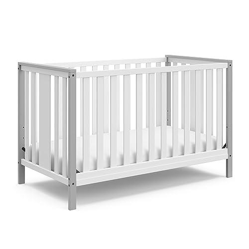 STORKCRAFT Modern Pacific 4in1 Convertible Crib Contemporary 2-Tone Design NonToxic Finish Converts into FullSize Bed Adjustable Mattress Height Fits Standard Crib Mattress