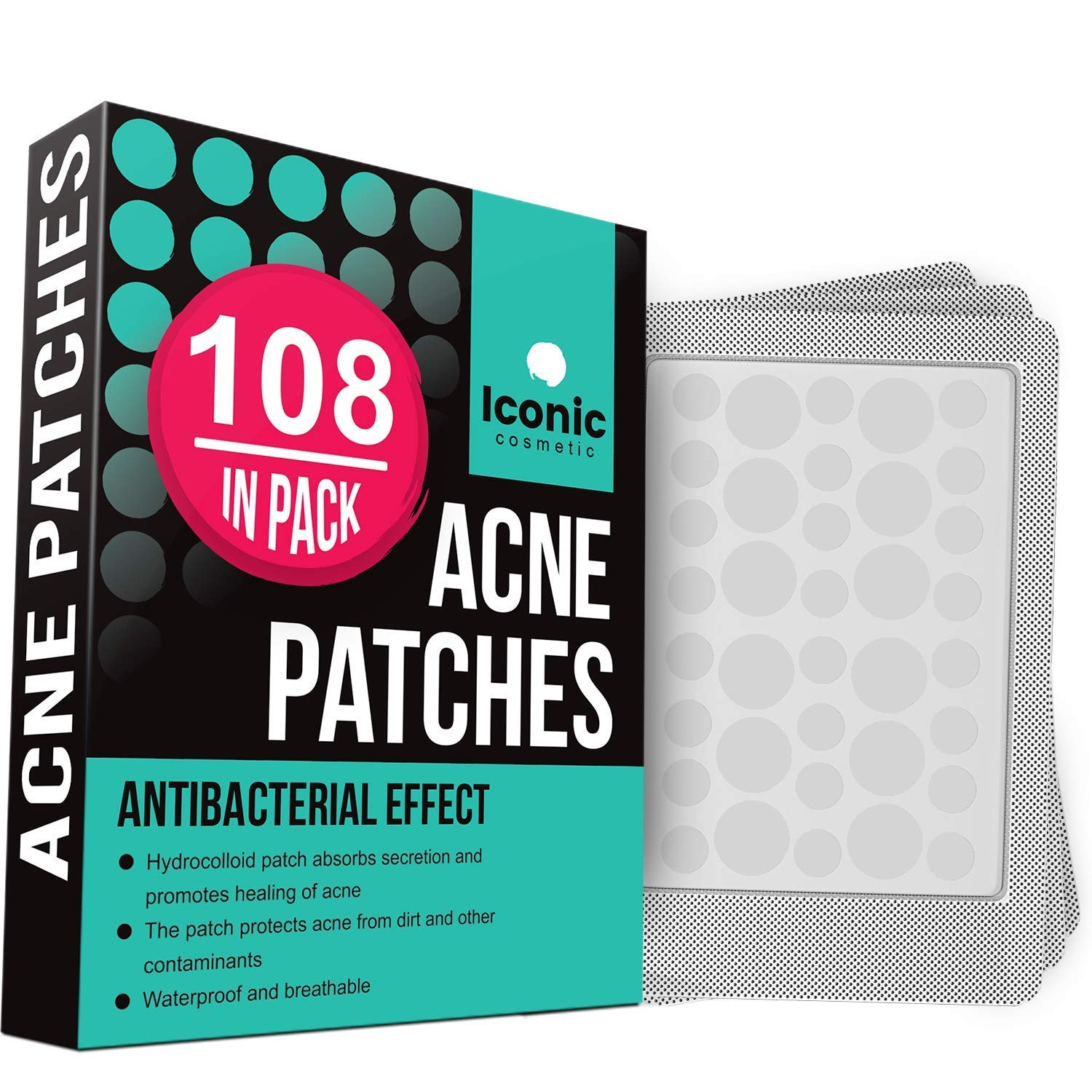 ICONIC Acne Pimple Healing Patch - Absorbing Cover, Invisible, Blemish Spot, Hydrocolloid, Skin Treatment, Facial Stickers, Two Sizes, Blends in with skin (108 Patches) by iconic