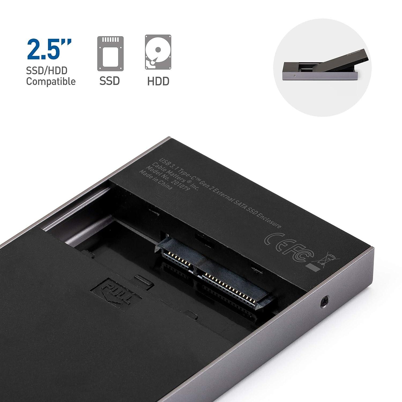 Amazon.com: USB 3.1 Tipo-C Gen 2 externo SATA SSD Recinto ...