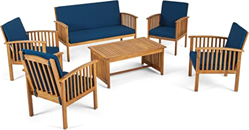 Great Deal Furniture Parry Outdoor 6-Seater Acacia Wood Chat Set