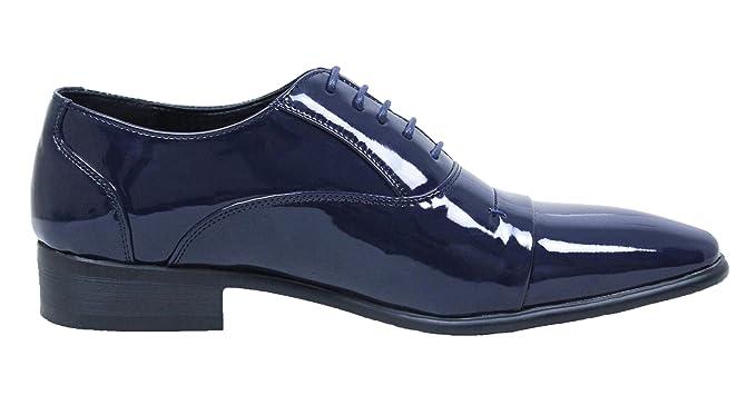 AK collezioni Scarpe uomo Class eleganti blu scuro lucide vernice linea  classica  Amazon.it  Abbigliamento 1cb08b683de