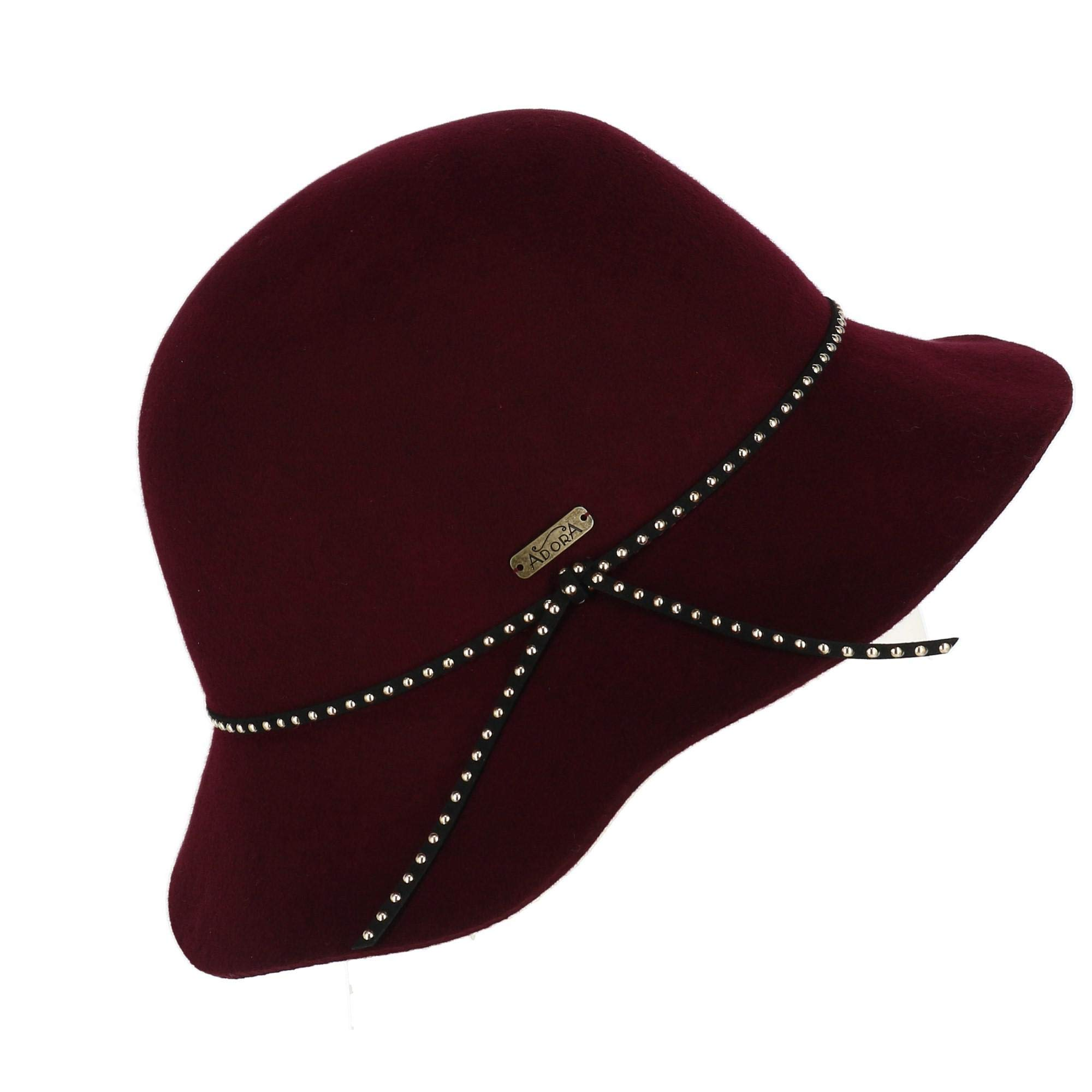 Betmar Adora Women's Wool Felt Cloche with Studded Faux Leather Band, Burgundy by Adora