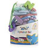 Bathtime Buddies alphabet foam letters set, wet, stick and play includes 65 lowercase letters and handy net storage bag