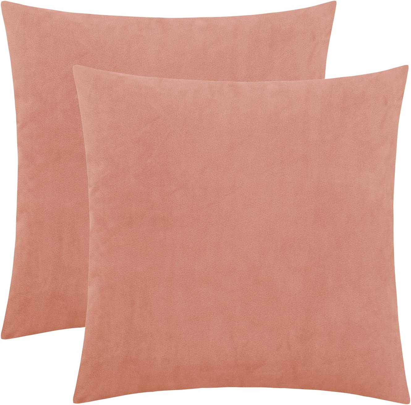 HWY 50 Velvet Soft Comfortable Solid Decorative Throw Pillows Covers Set Cushion Cases for Couch Sofa Living Room 20 x 20 inch Light Pink Pack of 2