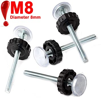 Extra Long Wall Mounting Accessories Screws Rods Adapter Bolts Black Replacement Hardware Parts Kit for Pet /& Dog Pressure Mounted Safety Gates 4 Pack 8MM Baby Gate Threaded Spindle Rod