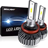 SEALIGHT H11 H8 H9 LED Headlight Bulbs, Fanless 6000K White, Easy Installation, Low Beam H16 LED Fog Lights, Halogen…
