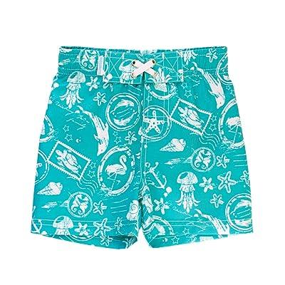 af02d7ad11 RuggedButts Infant/Toddler Boys Adjustable Waist Turquoise Nautical Print  Swim Trunks Shorts