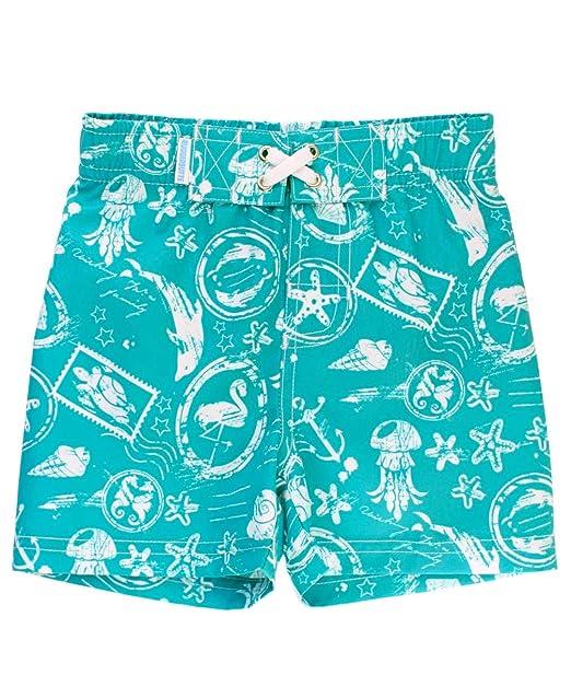 6b43466da6dbc RuggedButts Infant/Toddler Boys Adjustable Waist Turquoise Nautical Print Swim  Trunks Shorts - Blue -