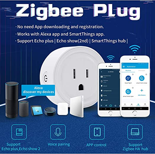 4PC HIBRO Zigbee Smart Plug Outlet Compatible With Alexa, Echo, SmartThings Hub, alexa outlet,Smart switches Remote Control Your Home Appliances from Anywhere,alexa accessories