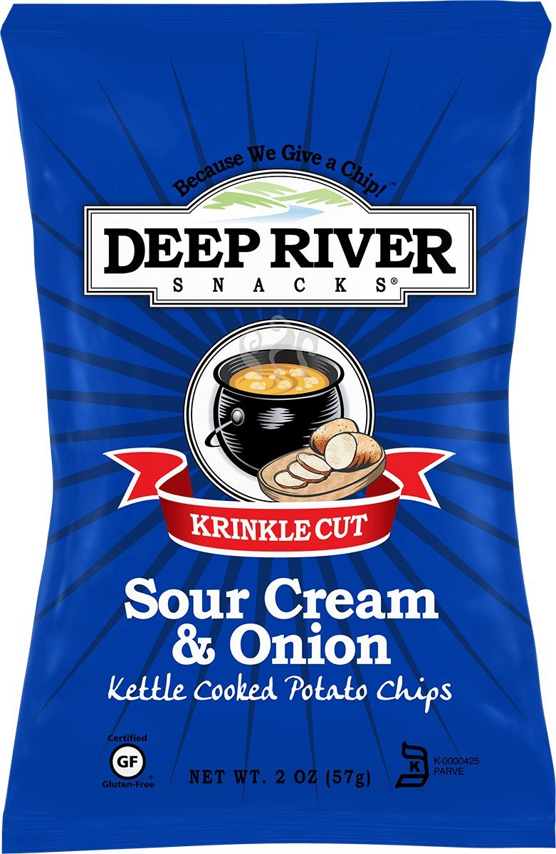 Deep River Kettle Sour Cream & Onion Krinkle Cut Potato Chips, 2 Ounce (Pack of 24)