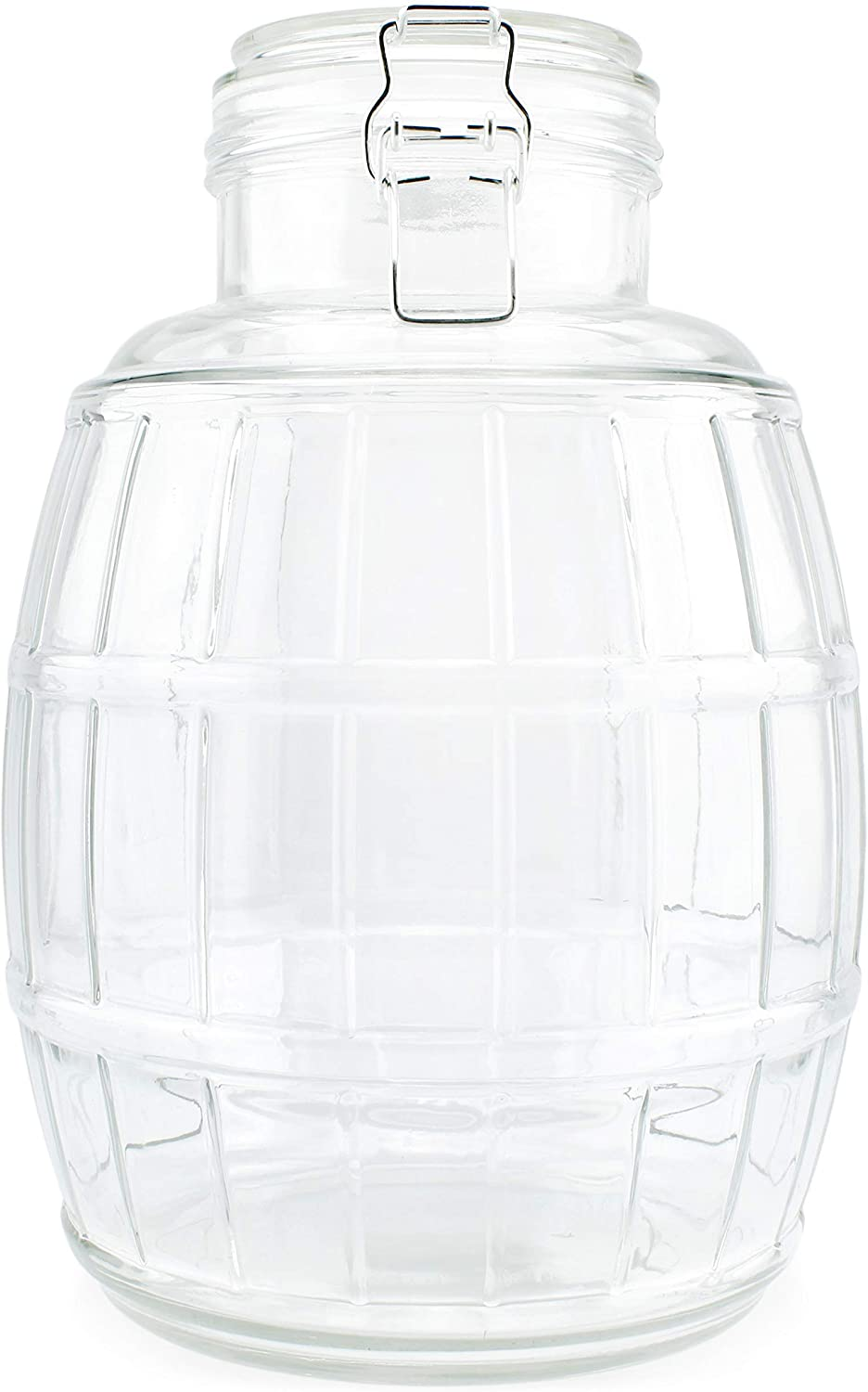 Darware Gallon Glass Barrel Jar; Clamp-Top Barrel-Shaped Canister for Food and Household Storage