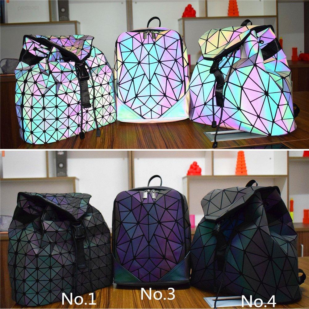 HotOne Shard Lattice Design Geometric Backpack Holographic Reflective  Backpacks PU Leather Fashion Backpack (Luminous No.4)  Amazon.co.uk  Sports    Outdoors ca470cf075