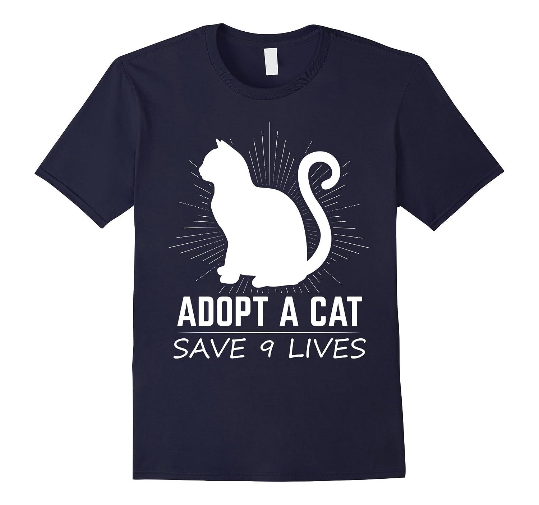 Adopt A Cat Save 9 Lives T Shirt Kitty Adoption Tee- TPT