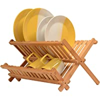 Rubik Wooden Collapsible Dish Drying Rack - Bamboo Kitchen Folding Dish Rack & Plate Holder | Compact & Foldable Dish Drainer
