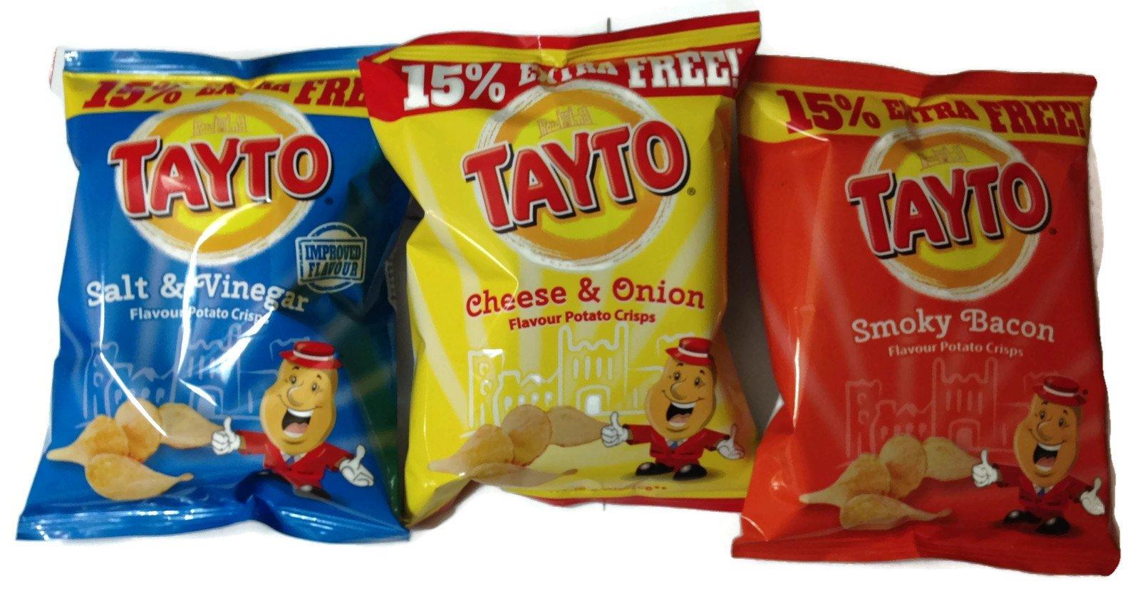 Tayto Irish Assorted Crisps - 12 Pack (12 X 37.5g Bags) - 4 Cheese & Onion, 4 Salt & Vinegar, 4 Smokey Bacon