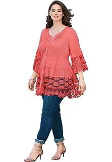 41ea2765c6265 Roamans Women s Plus Size Eyelet Cold Shoulder Top at Amazon Women s ...