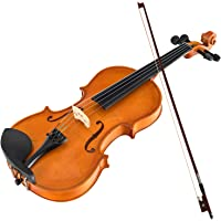 Advwin 4/4 Full Size Solid Wood Acoustic Violin Kit for Beginners with Case,Bow,Rosin,Extra Bridge & Strings