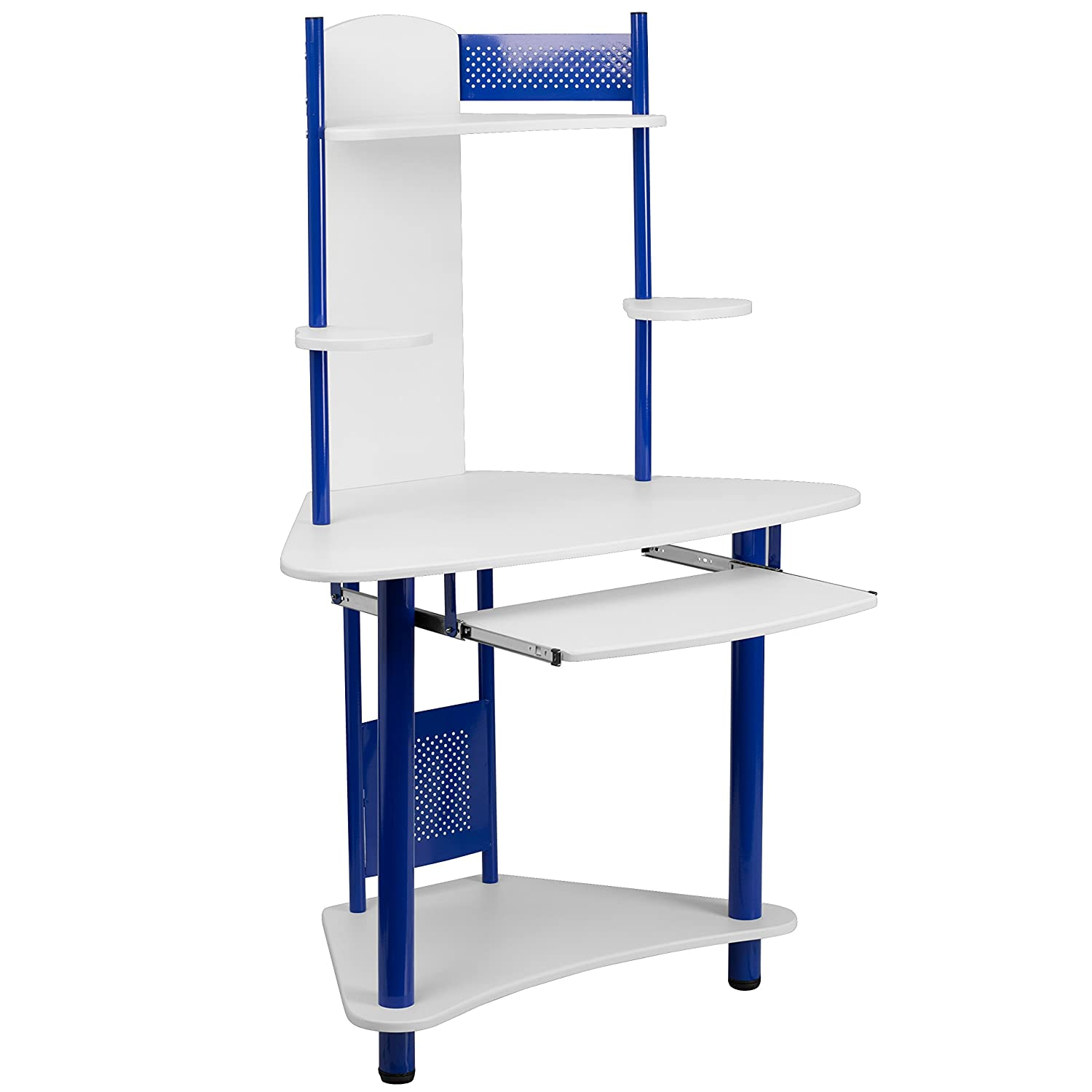 Flash Furniture Blue Corner Computer Desk with Hutch NAN-JN-2705-BL-GG
