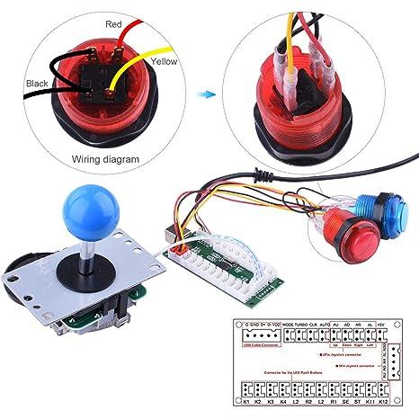for Raspberry Pi 3 2 Model B Retropie, Longruner LED Arcade DIY Parts on
