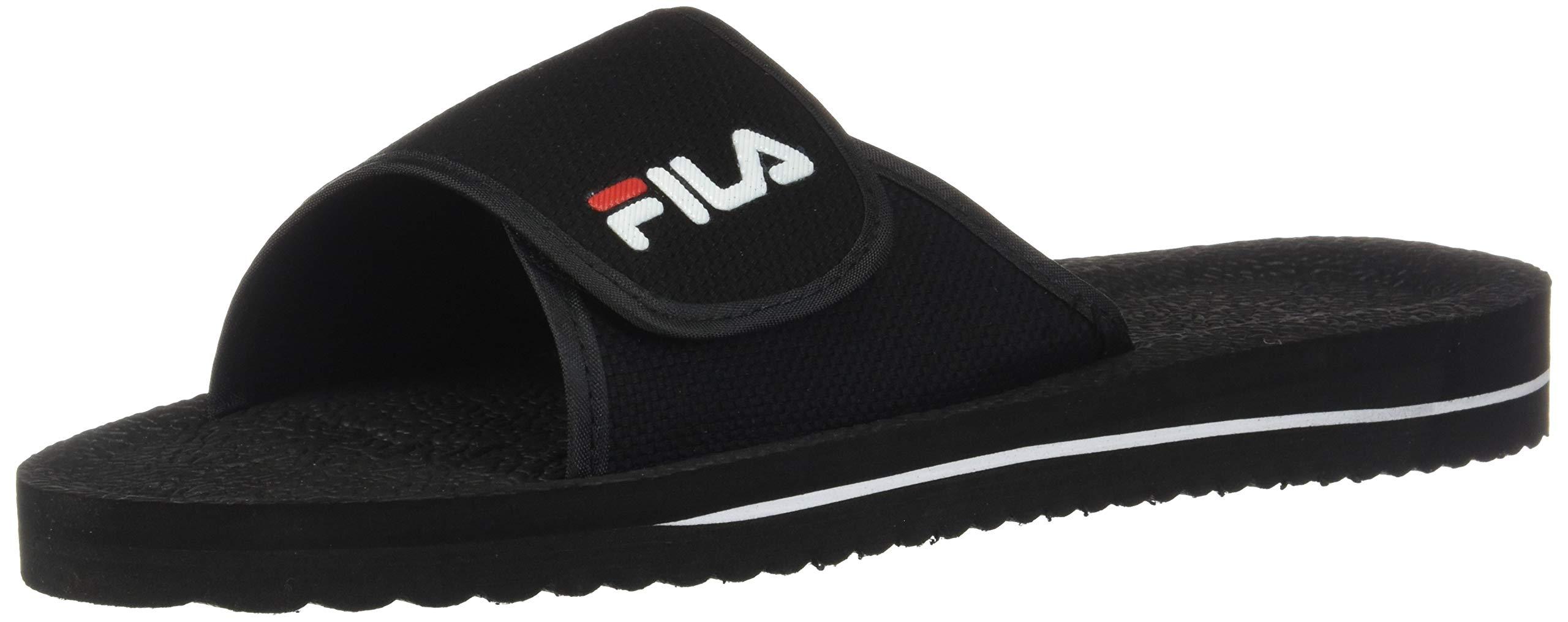 Fila Men's Slip On Sandal,Black/White/Red,4 M US by Fila