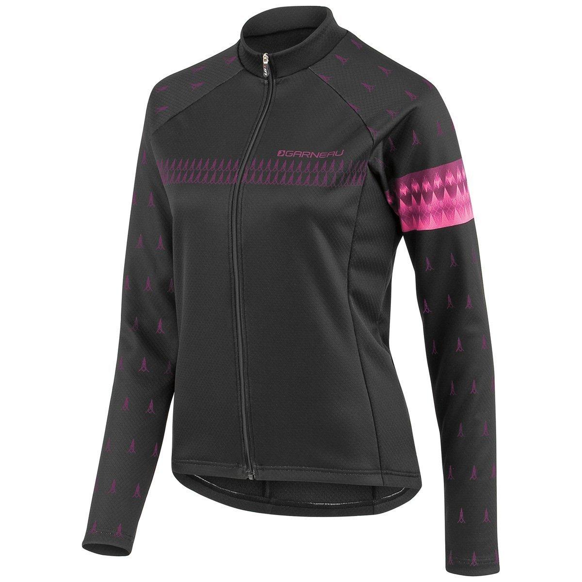 Louis Garneau Women 's 2015 Equipe長袖サイクリングジャージー Medium Black/PinkGlow B00ZHI11NK