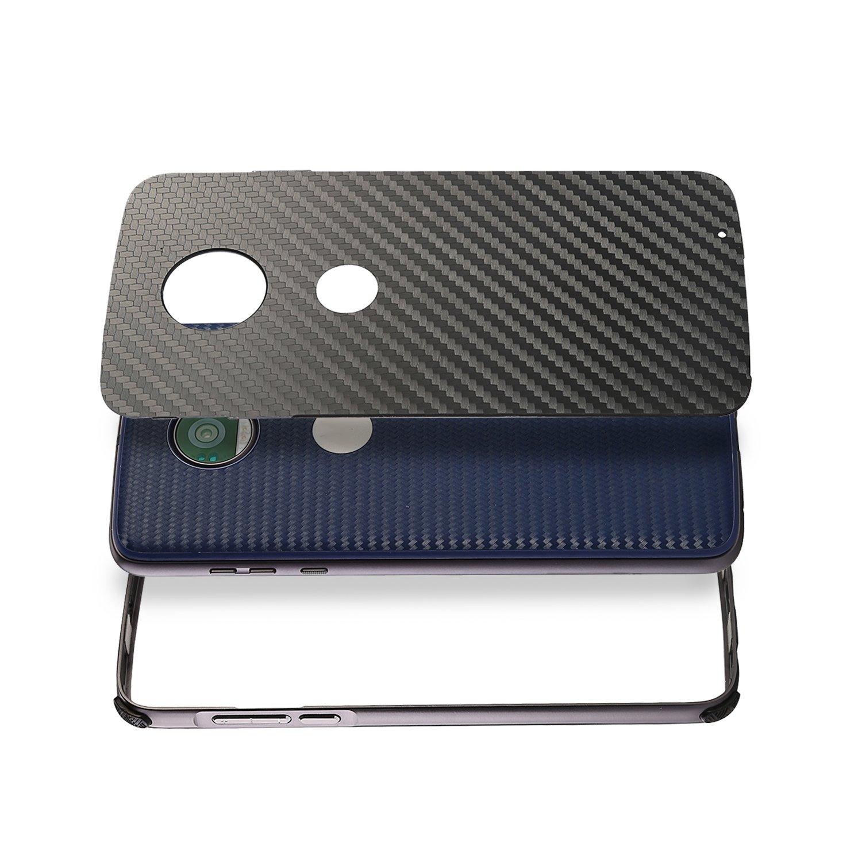 DAMONDY Moto G6 Plus Case Luxury Carbon Fiber Design Ultra thin Imitation Metal Brushed Premium Aluminum Shockproof Protective Bumper Hard Back Cover Case for Motorola Moto G6 Plus-Black