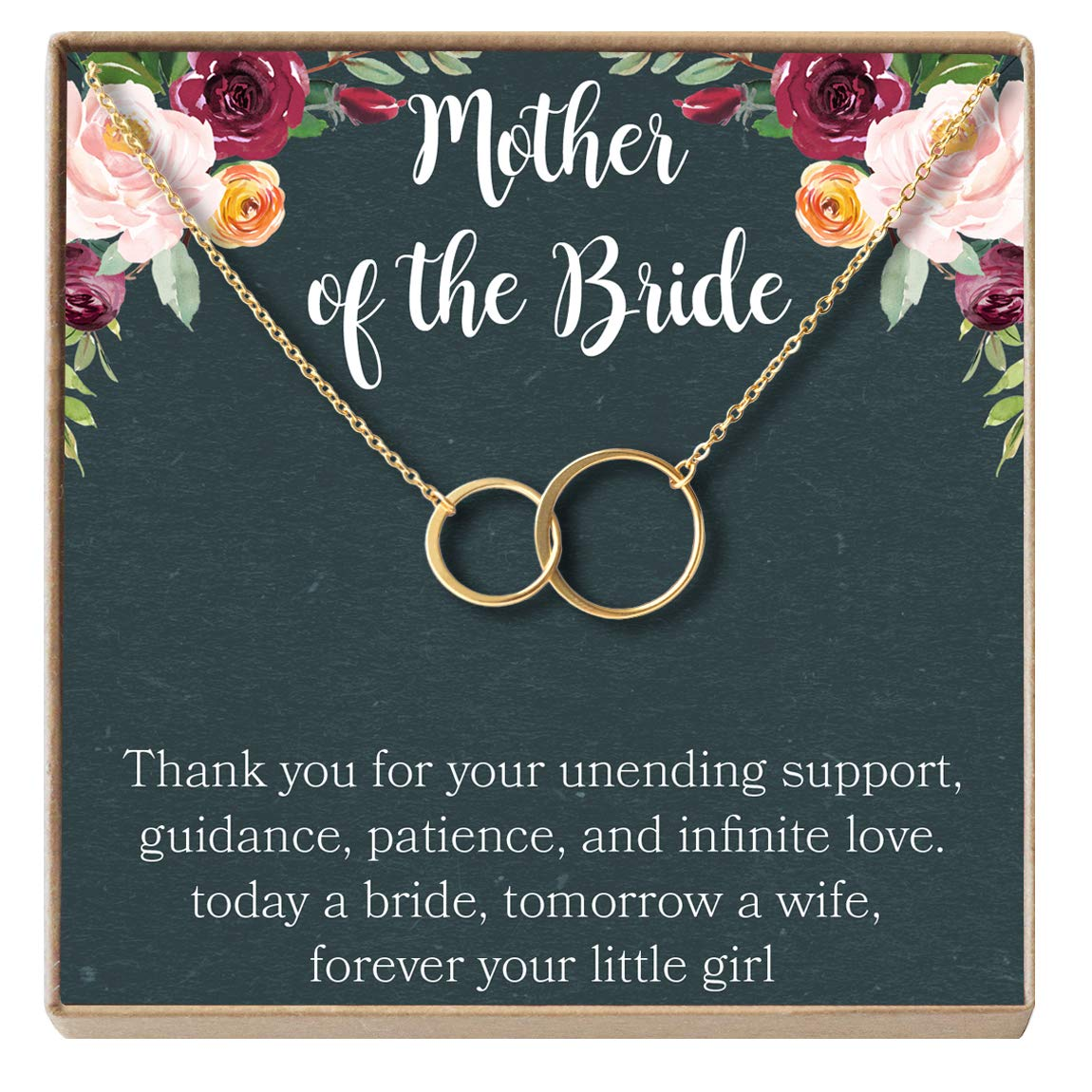 Parent of Bride Jewelry Dear Ava Mother of The Bride Gift Necklace Wedding 2 Asymmetrical Circles