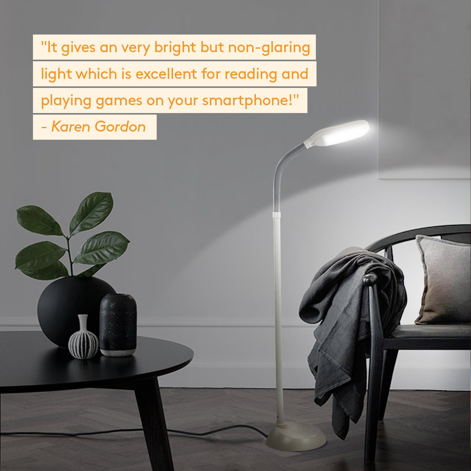 brightech litespan led reading and craft floor lamp dimmable