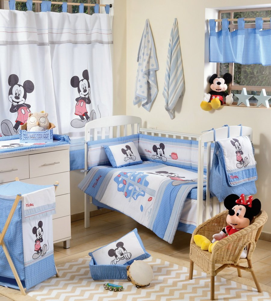 Disney Baby Blue Mickey Mouse Dance Crib Bedding Accessory - Bumper