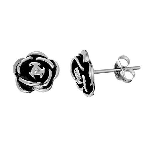 118cc1f80 Amazon.com: Silverly Women's .925 Sterling Silver 9 mm Oxidised Rose Flower  Stud Earrings: Jewelry