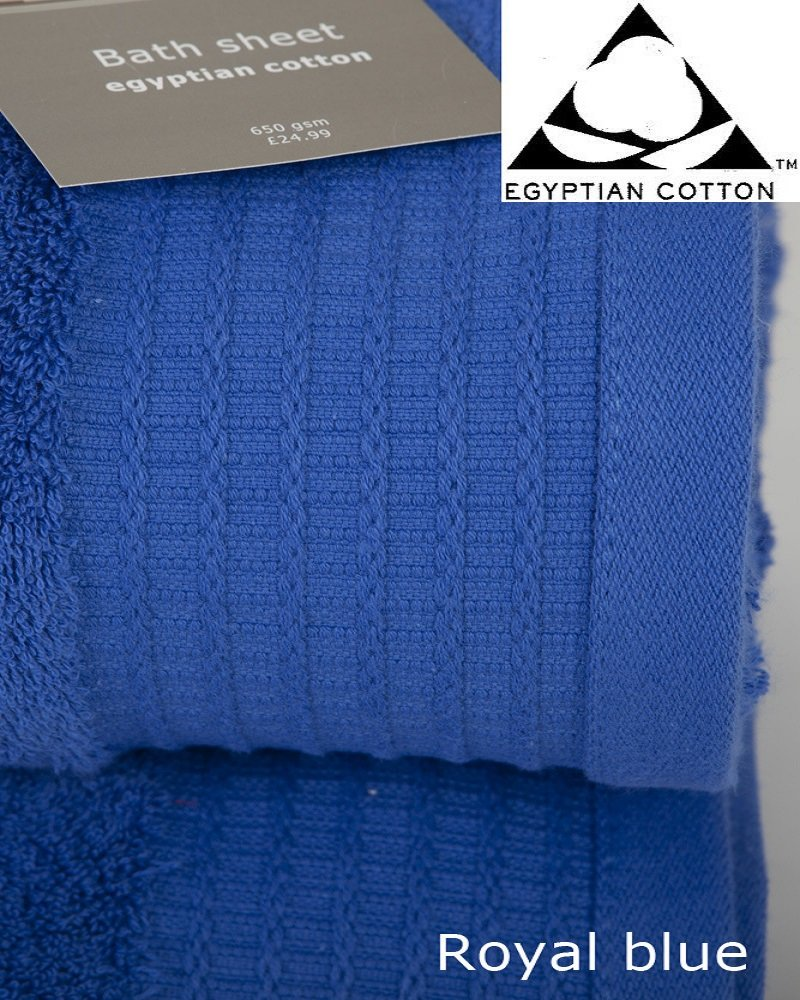 150cm x 100cm Pair of ROYAL BLUE Bath Sheets Prestige Luxor Egyptian Cotton 650gsm