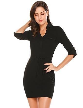 e73e08fc0082b5 L AMORE Damen Figurbetontes Kleid Langarm mit V Ausschnitt Etuikleid mit Gürtel  Strech Shirtkleid Freizeitkleid