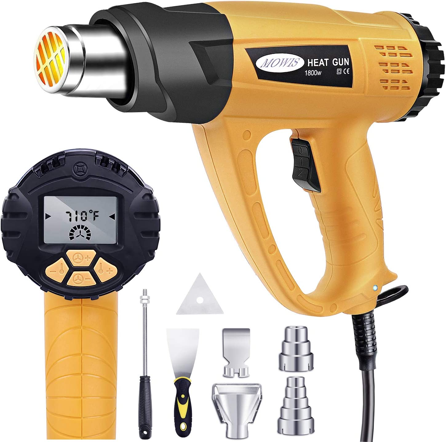 with 4 Nozzle Attachments Heat Gun Mowis 1800W Heavy Duty Hot Air Shrink Gun