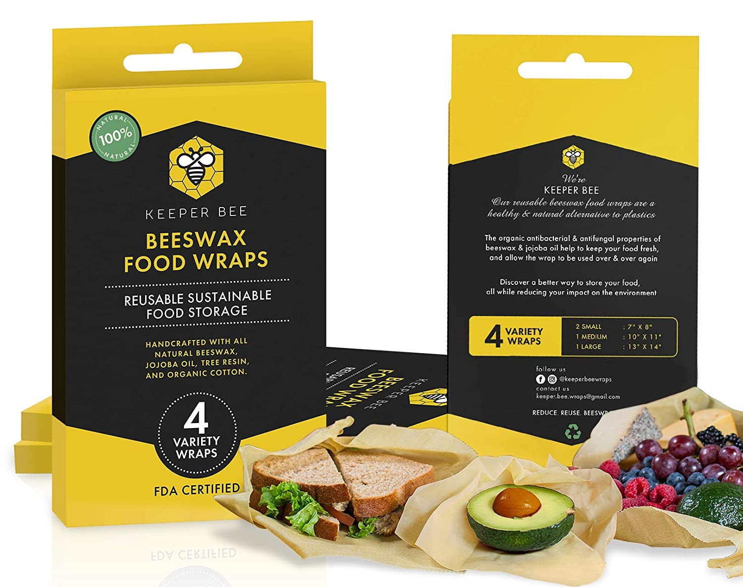 Beeswax Food Wraps 4 Pack, by Keeper Bee ~ All Natural, Organic & Sustainable Food Storage ~ Eco Friendly & Reusable Alternative to Plastic ~ (2 Small, 1 Medium, 1 Large) ~ Dye Free!