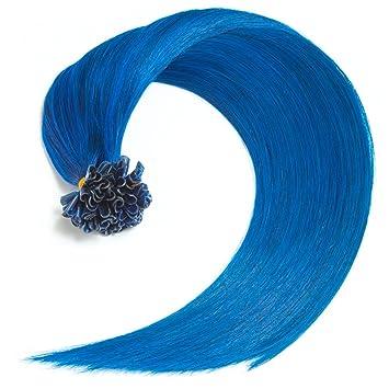 Blaue Bonding Extensions Aus 100 Remy Echthaar 50x 1g 45cm Glatte Strahnen Lange Haare Mit Keratin Bondings U Tip Als Haarverlangerung Und