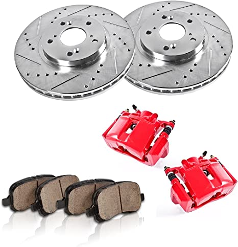 Front and Rear Red Brake Calipers /& Ceramic Pads For ACURA CL TL V6 3.2L