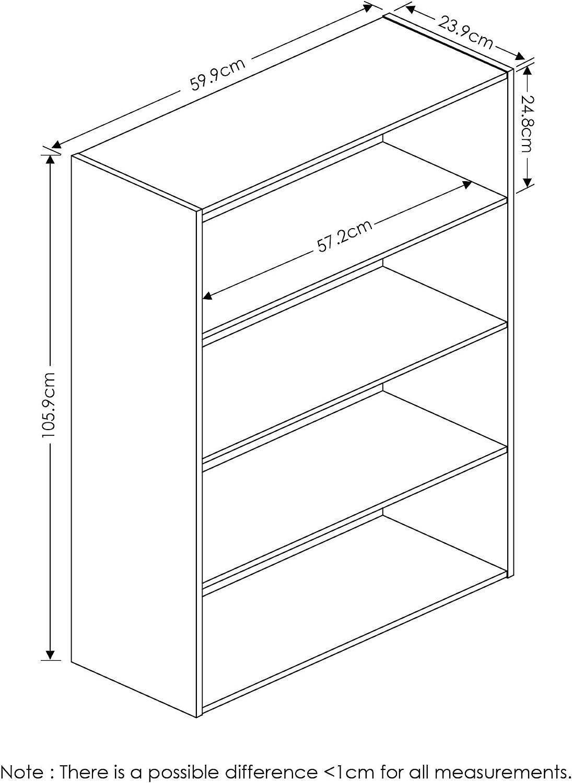 Furinno Pasir 4 Tier Open Shelf, Espresso: Furniture & Decor