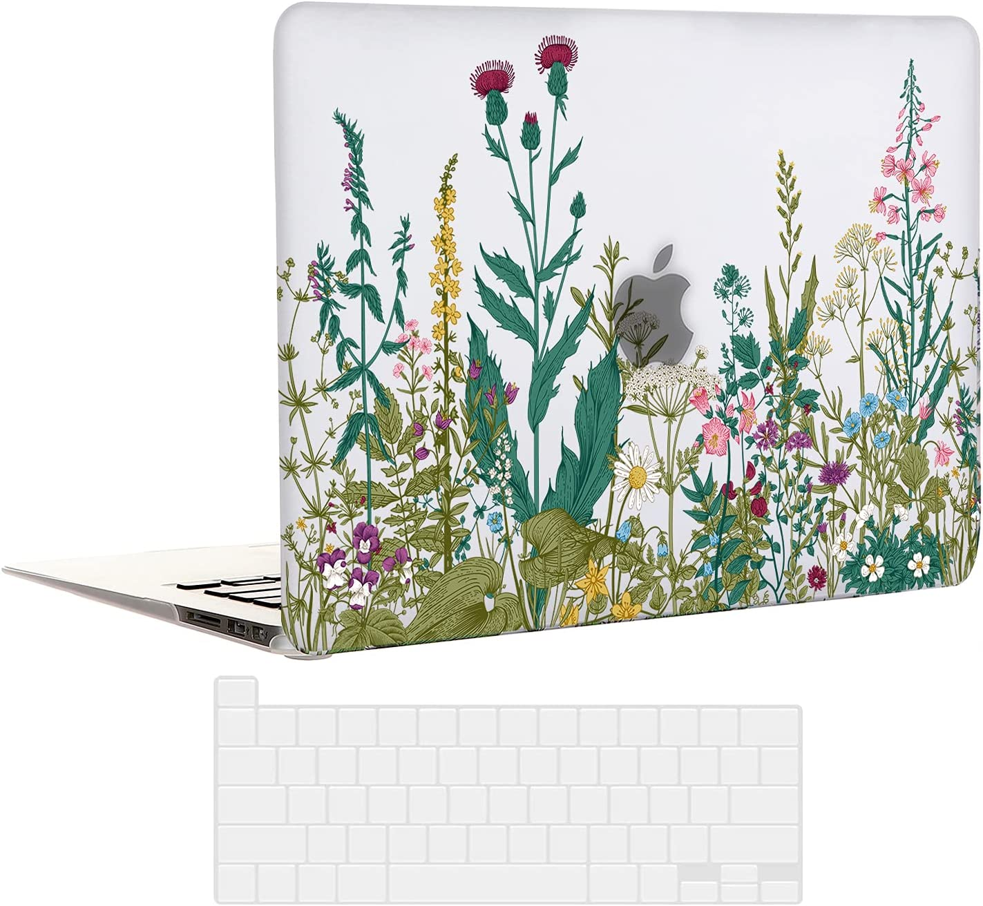EkuaBot Flowers MacBook Pro 13 inch Case & Transparent Keyboard Cover (A1425/A1502, 2012-2015 Release), Rubber Coated Hard Case Only Compatible MacBook Pro 13.3 with Retina Display (NO CD-ROM)
