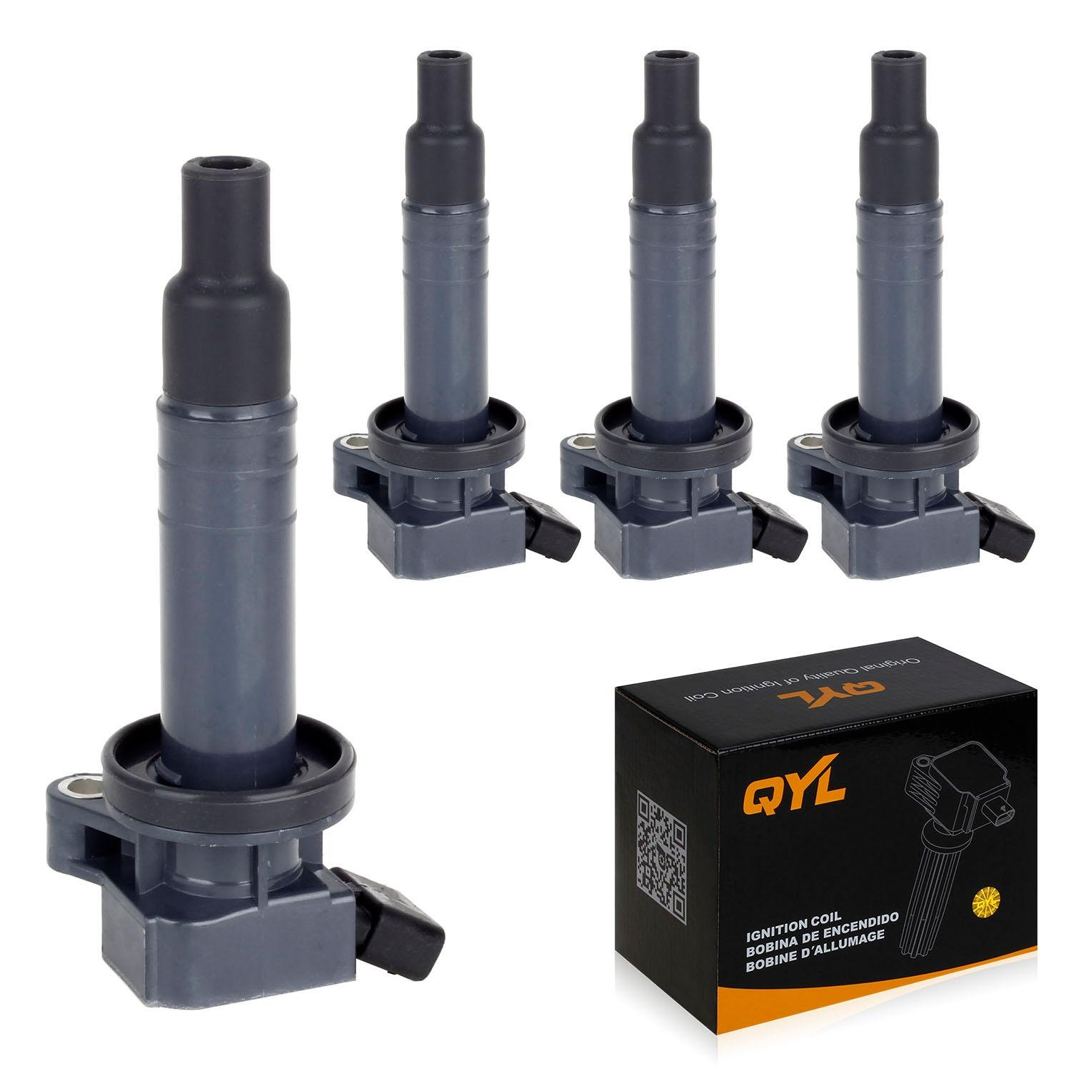 QYL Pack of 4 Ignition Coil Replacement for Toyota Celica GT Corolla Matrix MR2 Pontiac Vibe Chevy Prizm L4 1.8L 1ZZFE UF247 9091902239 C1249 UF-247 UF-315